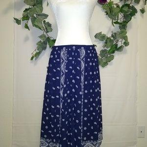 Michael Kors Blue and White Paisley Skirt